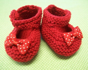Red Baby Booties, Red Baby Shoes, Red Baby Girl Shoes, Red Newborn Shoes, Red Crib Shoes, Red Cotton Baby Booties, Mary Janes