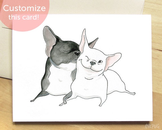 Frenchie Kiss French Bulldog Card - Cute Card with Dogs, Unique I Love ...
