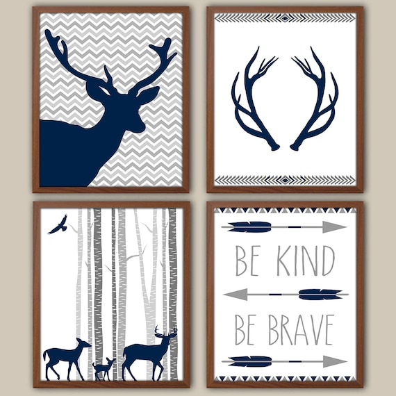 Woodland nursery art for boys tribal boys wall decor stag for Baby boy wall mural
