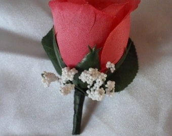 Hot Pink Rose Boutonniere for Weddings, Prom or Dances