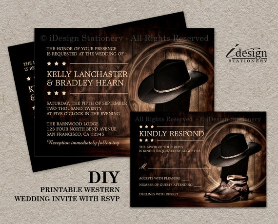 Country Western Wedding Invitation Set With Cowboy Boots DIY