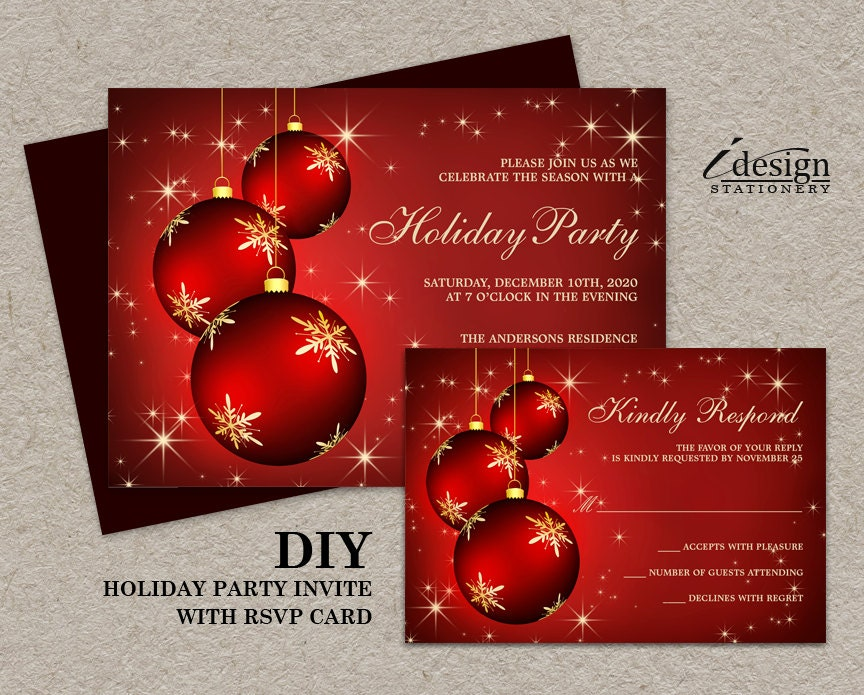 Elegant Christmas Invitations With Rsvp Cards DIY Printable