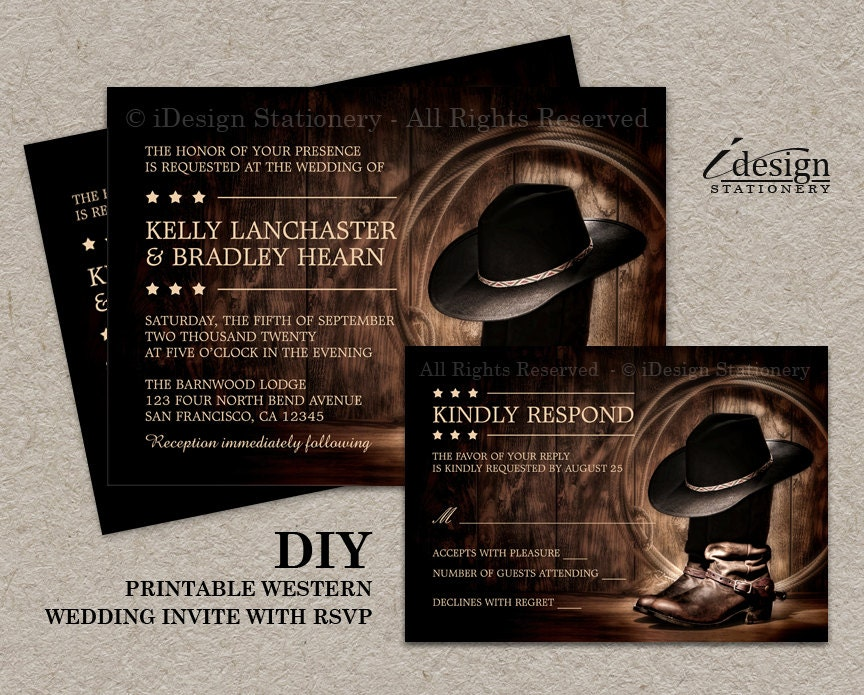 country western wedding invitation set with cowboy boots diy,