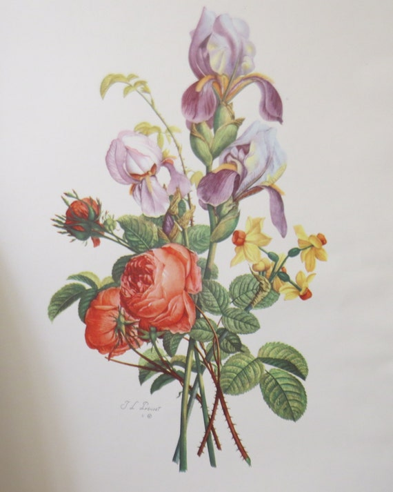 Set of 4 Antique Jean-Louis Prevost Bouquet Etching-Tone Prints 1945 French flower prints