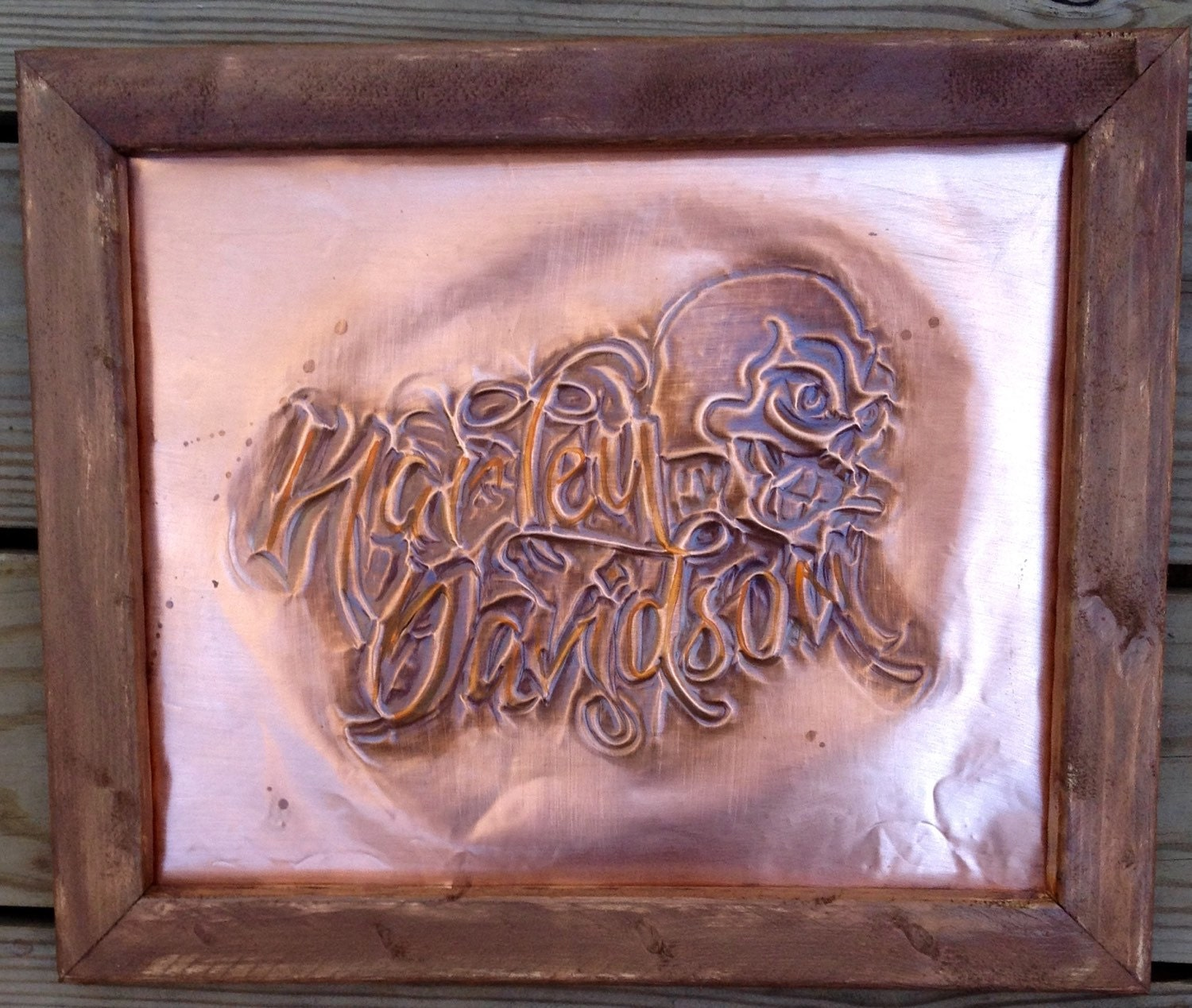 Copper Relief Wall Art Harley Davidson Brown Wood Frame
