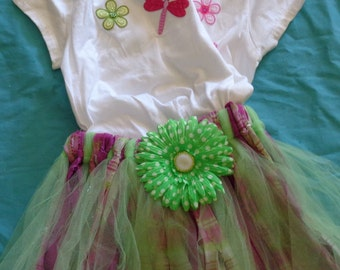 Fabric Tutu Skirt in Spring Colors  Ready to ship in size 7 - 8  Green, Pink, Purple and Plaid