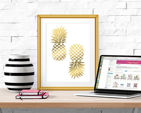 Gold Pineapple Print -- Home Decor -- 8 X 10""