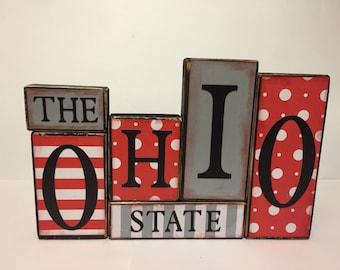 Ohio State Sign  Word Blocks - Wooden Block Set