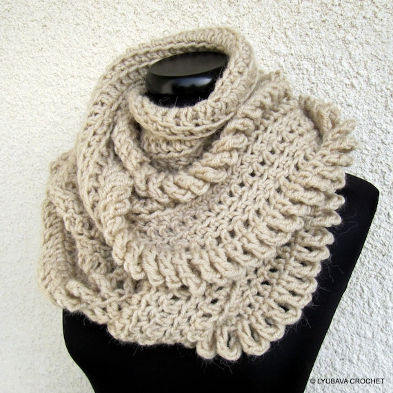 Hand Crocheted Scarf Beige Scarf Circle by CrochetedByLyubava