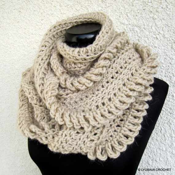Crocheting With Your Hands : Hand Crocheted Scarf, Beige Scarf, Circle Scarf, Winter Scarf, Gift ...