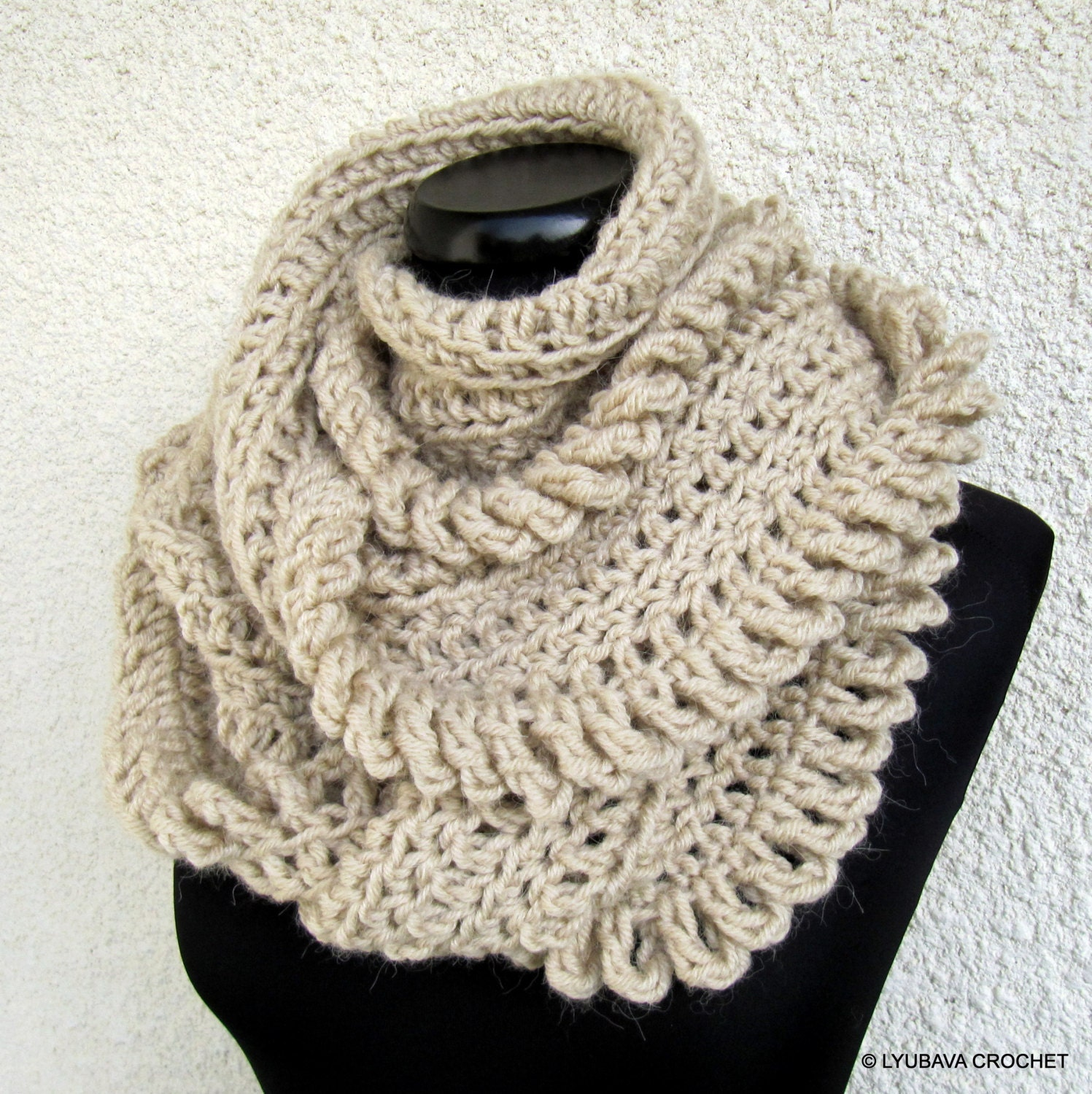 Hand Crocheted Scarf Unique Scarf Infinity Scarf Beige