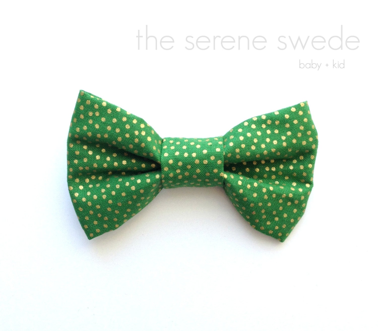green and gold polka dot toddler bow tie green by