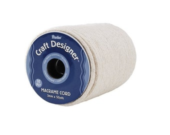 Natural Cotton Macrame Cord 50 Yard Spool, Ideal For Smaller Cording, Perfect For Creating Jewelry Belts And Other Fashion Accessories