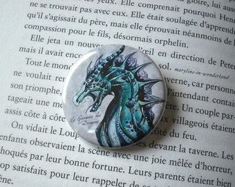 badge, brooch blue dragon