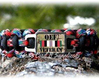 OEF Operation Enduring Freedom Veteran Survival Paracord Bracelet, Unisex Adult Bracelet, United States Military, Gift