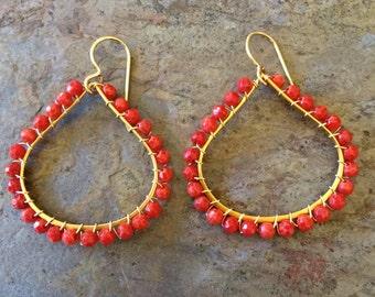 Coral beaded gold teardrop hoop earrings
