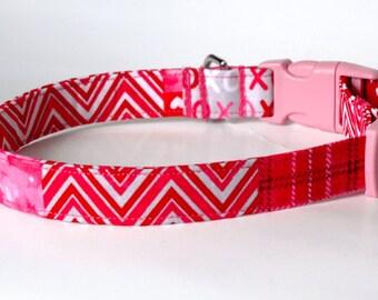 """Handmade Quilted Valentine Design Dog Collar """"New"""""""