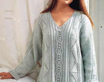 Ladies aran tunic style jumper  vintage knitting pattern PDF instant download
