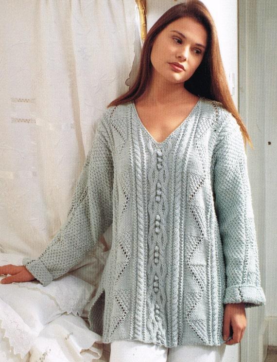 Knitting Pattern For Tunic Jumper : Items similar to Ladies aran tunic style jumper vintage knitting pattern PDF ...
