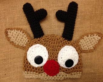 Crochet Reindeer Hat ALL SIZES : Christmas