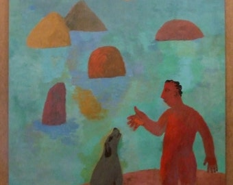 Original contemporary painting Peter Griffin listed modern art Man in the Landscape gouache surreal abstract English artist primitive