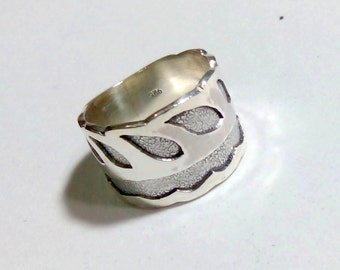 Handmade designer Solid 925 Silver Ring in two tones of Silver. ANY SIZE AVAILABLE