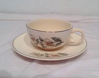 SALEM POTTERY rare  Magnolia Cup and Saucer Set 1958