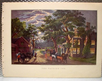 Currier & Ives Vintage Print 1952 THE WAYSIDE INN Horses and Carriage