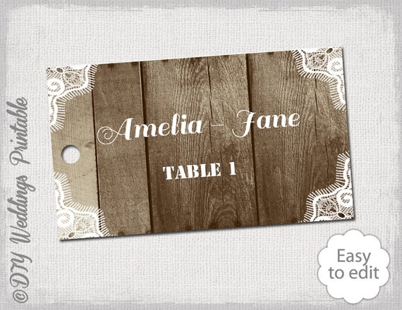 rustic place card template wood  u0026 lace by diyweddingsprintable