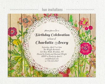 rustic floral birthday party invitation, watercolor wildflowers woodgrain lace doily garden bbq birthday invite, lace doily 5x7 size 208