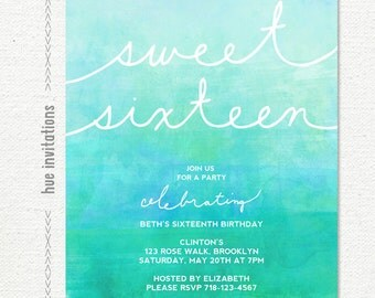 sweet 16 invitation, 16th birthday party invitation, turquoise blue green dip dye ombre watercolor, modern teen birthday, 5x7 jpg pdf 810