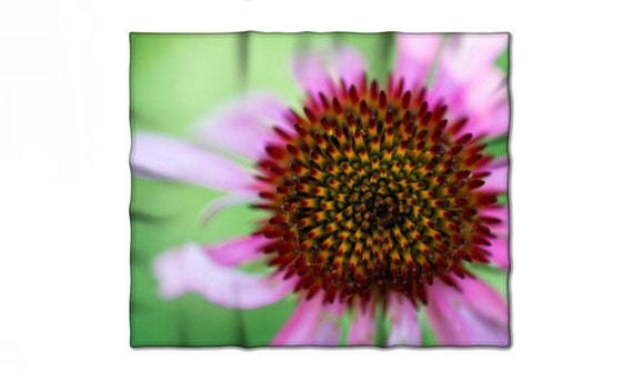 Fleece Blanket, Macro Photography, Purple Flower, Close Up Image, Coneflower Picture, Purple and Green, Baby Blanket, Full Queen Sizes