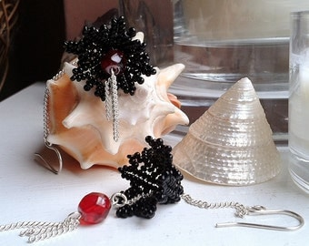 Sterling Silver Red and Black Beaded Flower Long Drop Dangle Earrings