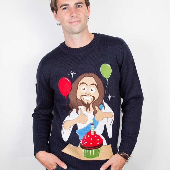 Christmas Sweater The Happy Birthday Jesus Ugly Christmas