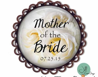 "Brooch - ""Mother of the Bride"" personalized with wedding date - Mother of the Bride Brooch - wedding - gift for Mother of the Bride - floral"