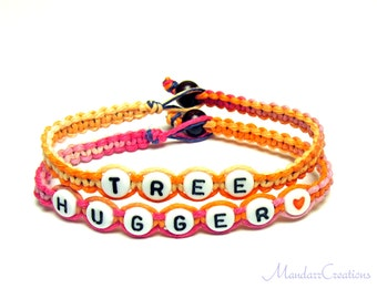 Tree Hugger Bracelets, Set of Two, Sherbert Macrame Hemp Jewelry, Made to Order, Black Friday Cyber Monday Sale