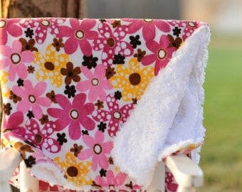 SALE Flower Pink and Mango Minky Baby Blanket