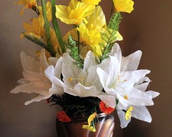 Gladiolus, Silk Floral, Flower Arrangement, Yellow and White Flowers, Silk Floral Arrangement, Silk Flowers, Gold Vase, Lilies, Home Decor
