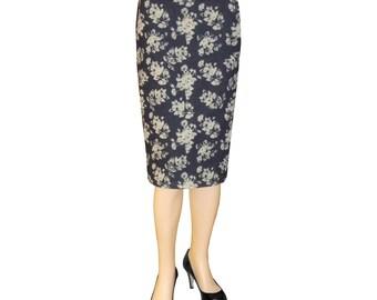 Baby'O Women's Basic Denim Floral Pattern Pull On Short Stretch Pencil Skirt, 8200F BLU/KHK