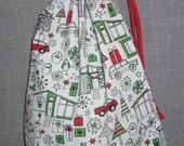 Black and White Christmas Holiday Fabric Gift Bag