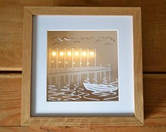 By the Lake illuminated papercut - Original, Handmade, Craft Paper Art