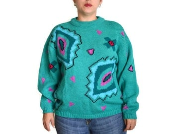 90's Vintage Esprit Sweater Teal Coloe Unique Design
