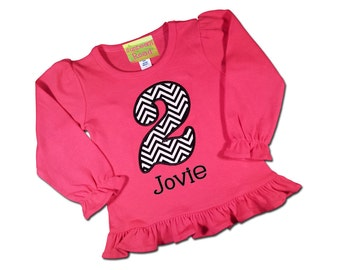 Girl's Birthday Shirt Hot Pink Frill with Chevron Number and Embroidered Name