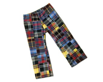 Boy's Plaid Pants, Tartan Trousers - Turquoise, Red, Yellow - M1