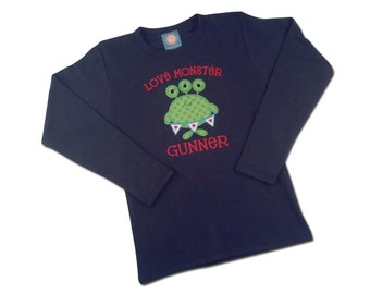 Boy's Valentine Shirt with Love Monster and Embroidered Name