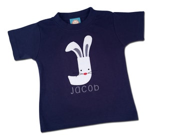 Boy's Easter Shirt with Easter Bunny Initial and Embroidered Name