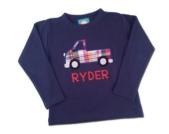 Boy's Truck Shirt with Embroidered Name - M33