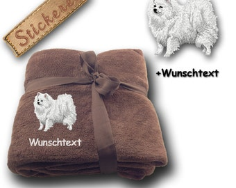 Fluffy Blanket embroidered with Dog Spitz white + own words