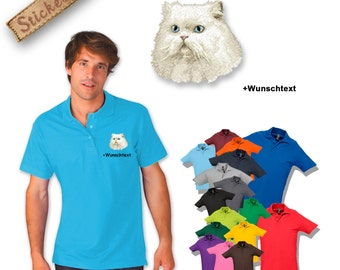 Polo shirt cotton embroidered embroidery dog  PERSIAN CAT + own words