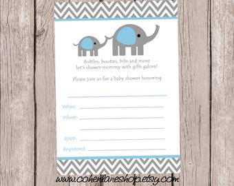 Instant Download Fill In Elephant Baby Shower Invitation. Fill in Invitations.  Mommy and Baby Elephant Baby Shower Invite. Blank Fill in.